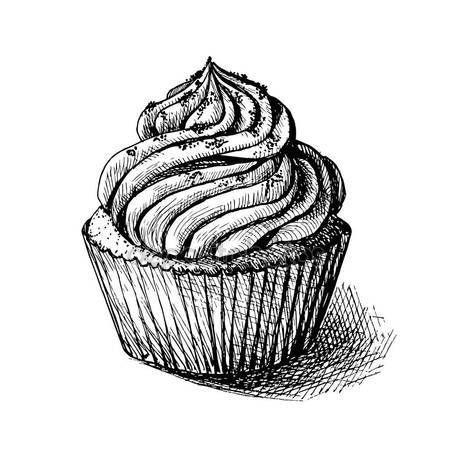 Letöltés - Vektoros rajz fekete-fehér illusztráció aranyos krémes édes cupcake. üdvözlőlapok és meghívók is használható — Stock Illusztráció #130072406