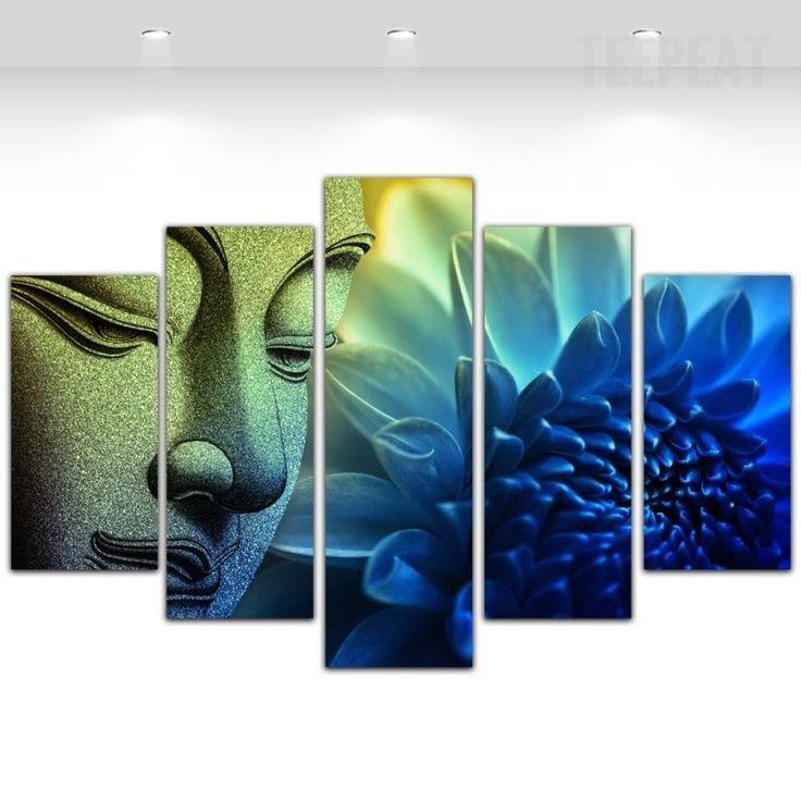 Buddha Flower Cuadros - 5 Piece Canvas Painting-Canvas-TEEPEAT  #prints #printable #painting #empireprints #teepeat