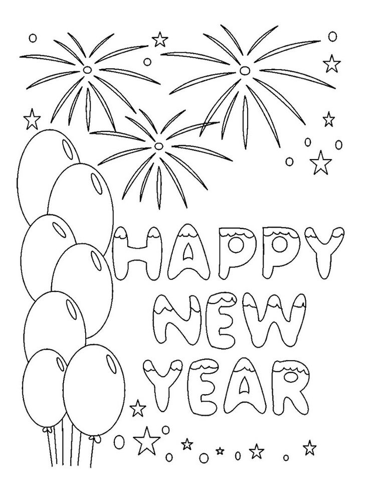 best new year coloring page images on pinterest