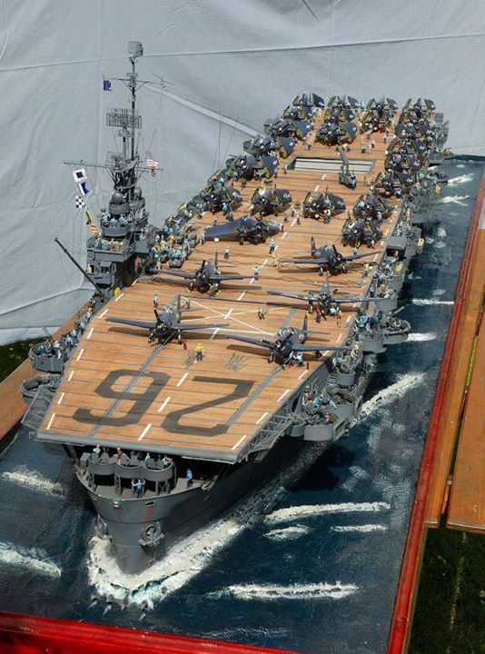 Huge model of the USS Monterey (CVL-26) Independence-class light aircraft carrier of the United States Navy. #3A