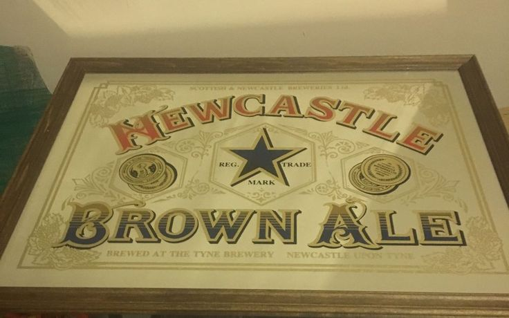 "Newcastle Brown Ale ""The One And Only"" Glass Bar Mirror Mancave 21""x 16"" Framed  