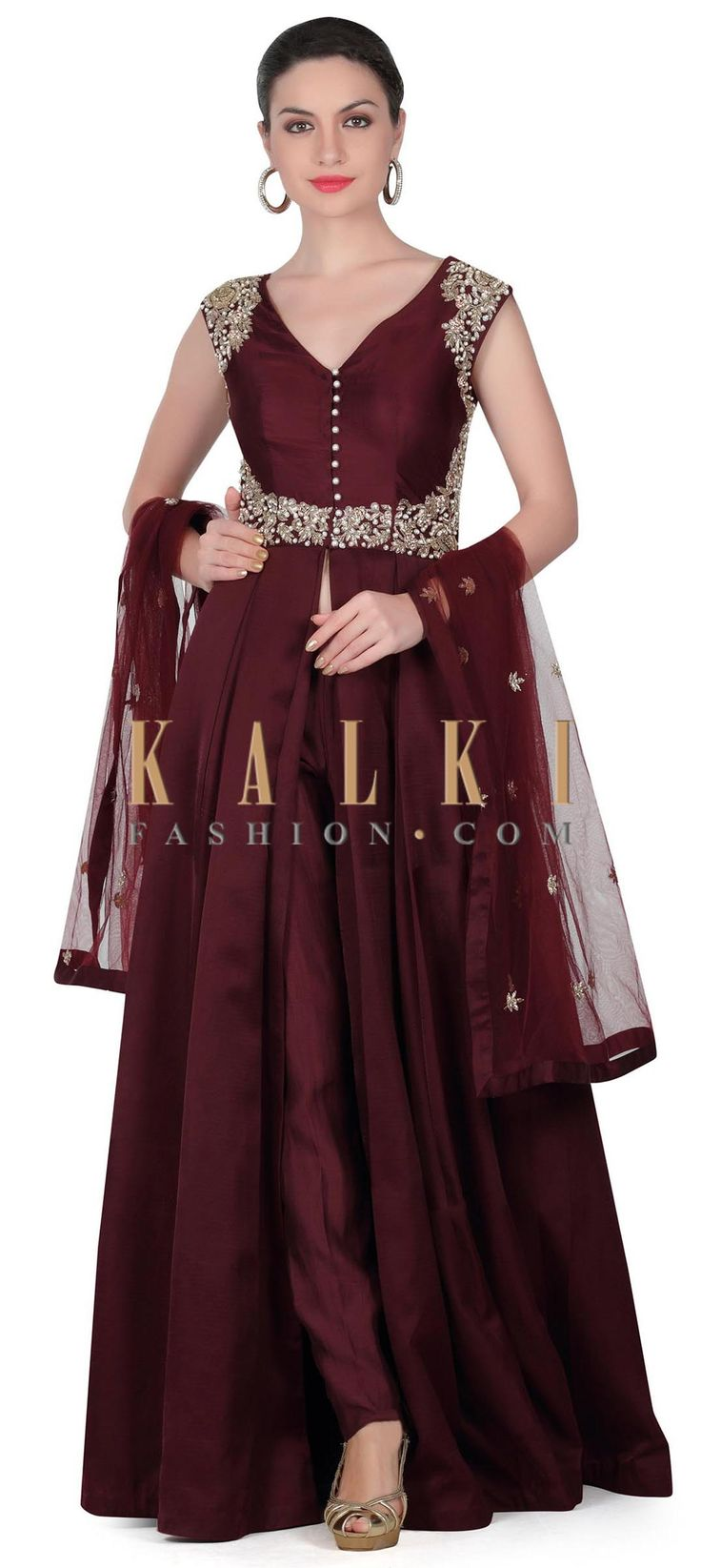 Buy this Wine anarkali suit with embroidered bodice only on Kalki