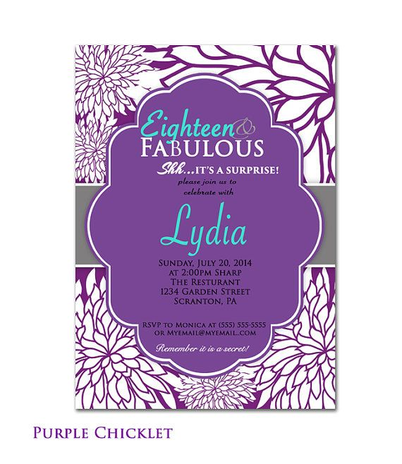 Purple Turquoise 18th 50th 60th Birthday Invitation Surprise Party Eighteen and Fabulous White flower bursts Adult Party Invite (139)