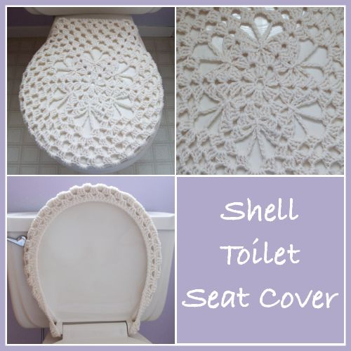 Free crochet pattern for a shell toilet seat cover. The pattern is simple and can be crocheted up in an afternoon.