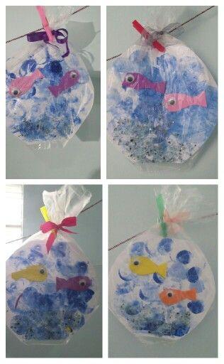 Anaokulu balıklar, deniz ve okyanus konulu çalışma. Okul öncesi sanat ve matematik faaliyeti. Fish and ocean theme art activities for preschool.