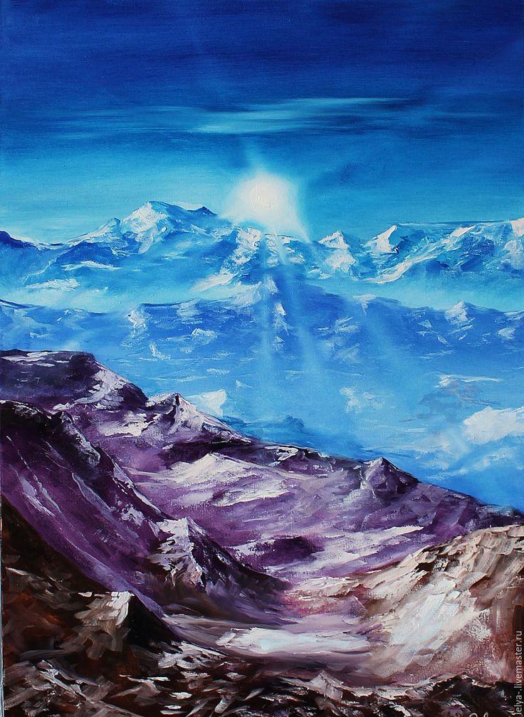 Купить Картина маслом Горный воздух - комбинированный, горный пейзаж, горы, горный воздух, фиолетовый