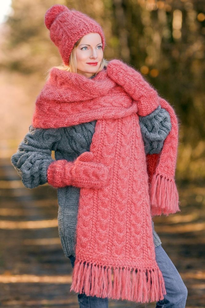 PASTEL RED Hand Knitted Fuzzy Mohair Cable knit Set Hat Scarf Mittens  SUPERTANYA