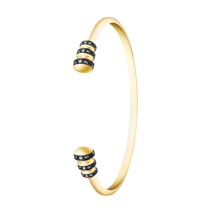 #MelissaKayeJewelry Tori Open Cuff #bracelet in #18k yellow #gold with #diamonds #jewelry #finejewelry #yellowgold #blackdiamonds #cuff #fashion #style