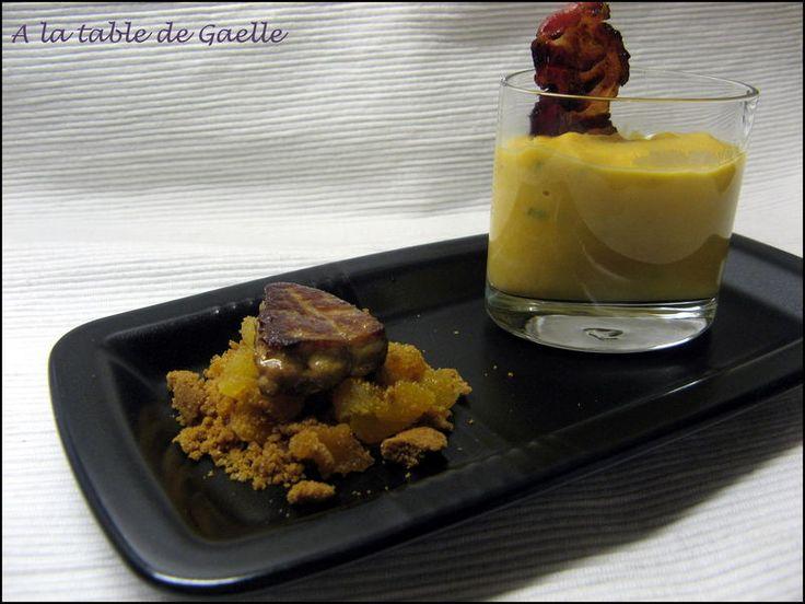 Escalope de foie gras sur faux crumble speculoos-abricot et verrine de patate douce à la vanille et au lard