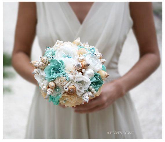SALE !!!!  Seashells Wedding Bouquet for Beach Wedding. Turquoise and Beige Wedding Bouquet. Beach Bouquet on Etsy, $255.10