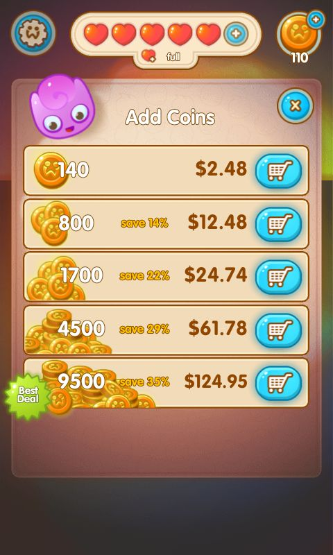 Jelly Splash by Wooga - Buy Currency Shop  - Match 3 Game - iOS Game - Android Game - UI - Game Interface - Game HUD - Game Art