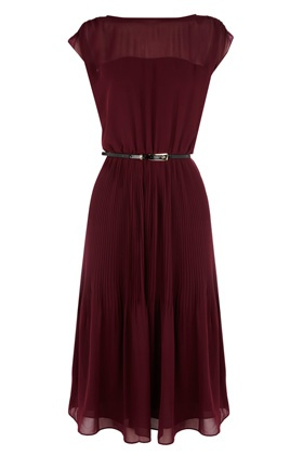 A super-glamorous midi-length dress with sheer panel at the top and double layers at the pleated skirt, adding movement. Comes with matching patent skinny belt.  Length approximately 114cm/44.8 inches from side neck to hem.