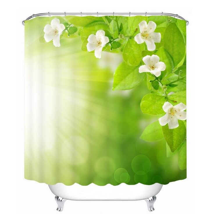 white flower and green leaves in the sunshine 3d printed bathroom waterproof shower curtain