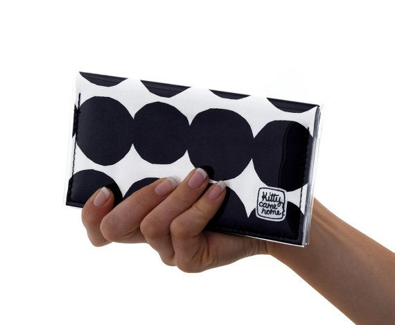 Mini Bi-fold Clutch Black and white Marimekko kivet fabric. Love this. *affiliate link