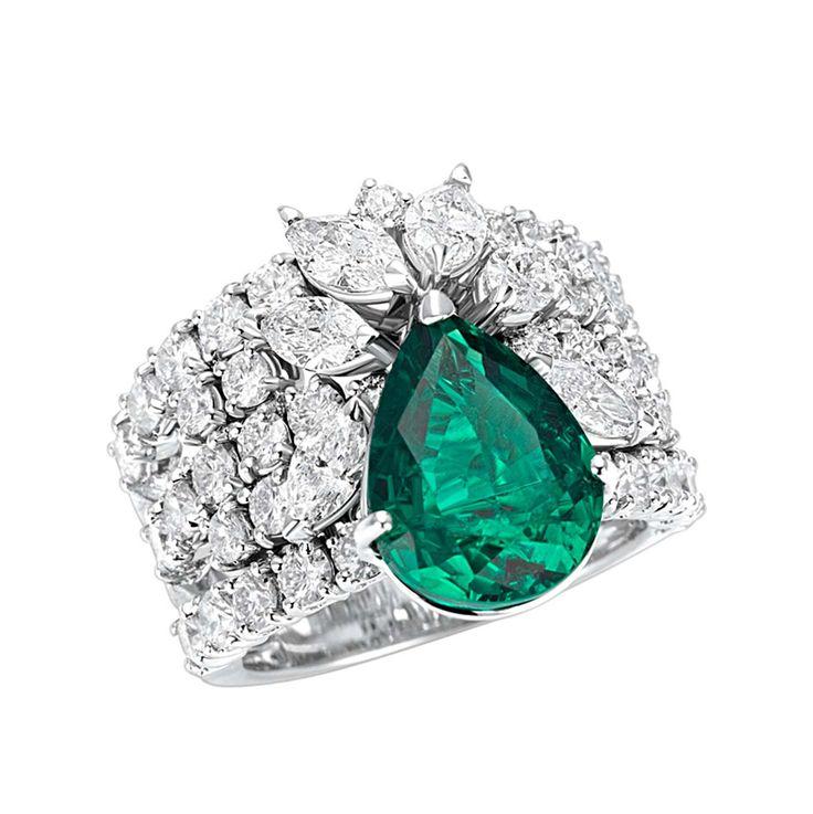 Leo Pizzo - Anello in oro bianco , smeraldo e diamanti