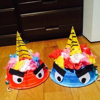 【アプリ投稿】【鬼の帽子】・5歳児・節分 ・豆まき・丼カップ、花… | みんなが投稿した遊びや製作の写真がいっぱい!あそびのタネNo.1 保育や子育てに繋がる遊び情報サイト[ほいくる]