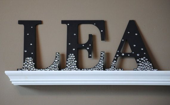 9 Quot Decorative Black Semi Bling Sparkle Wall Letters