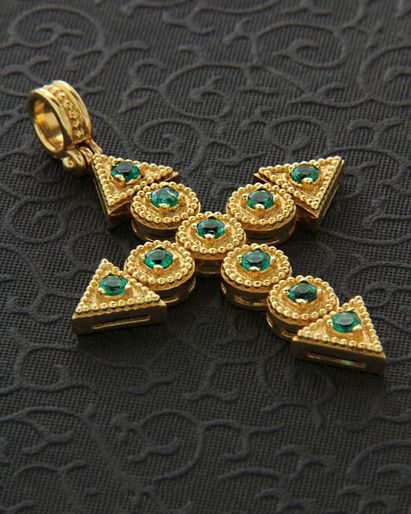 GOLD AND EMERALD CROSS PENDANT ~,Χειροποίητος Σταυρός χρυσός Κ18 με Σμαράγδια