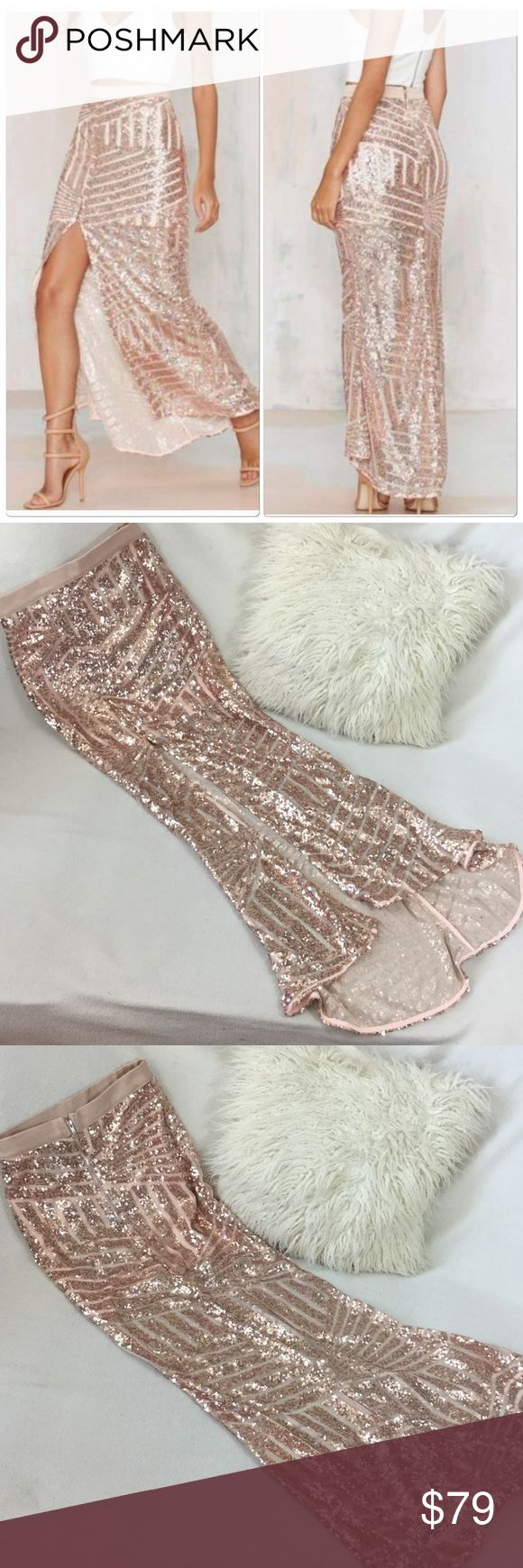 "Nasty Gal BRAND NEW Blush rose gold sequin skirt Rise of Dawn for Nasty Gal BRAND NEW Blush rose gold sequin skirt. This is absolutely stunning with the longer back and slit in the front. Lined mini skirt underneath   Runs true size XS. Wonderful condition never worn. Measures at back length 42"" front is 35"" long waist is 11 3/4"" across. Skirt is stretchy 816-775 Nasty Gal Skirts"