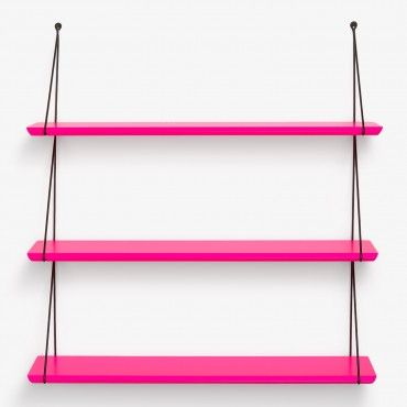 Babou 3 Neon Pink Shelves    Modern utility in an innovative form. Designed in France and made in Bulgaria, the Babou 3 Neon Pink Shelves are crafted from pine wood. Finished in a water-based neon pink coating, it easily slips onto its metal frame.