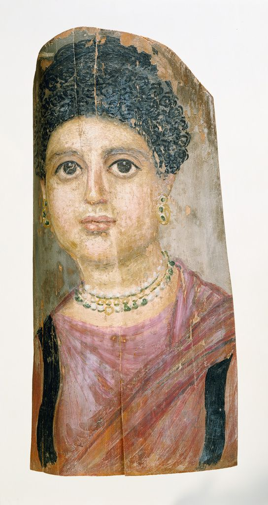 Mummy Portrait; Attributed to Malibu Painter (Romano-Egyptian, active 75 - 100); Egypt; 75 - 100; Encaustic on wood; 40 × 20 × 0.2 cm (15 3/4 × 7 7/8 × 1/16 in.); 73.AP.91; J. Paul Getty Museum, Los Angeles, California