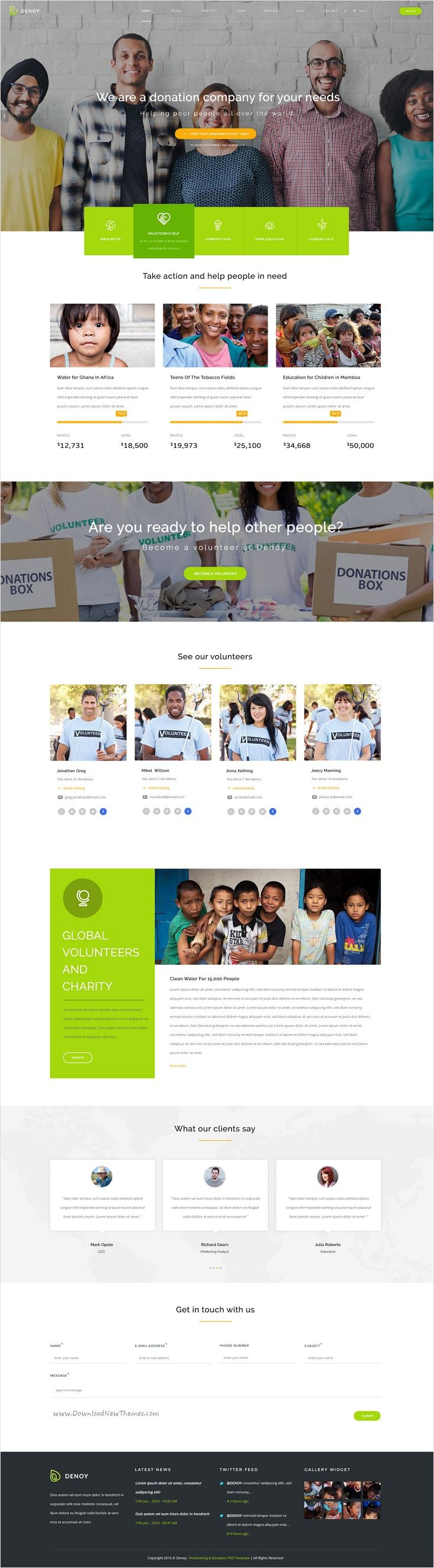 Denoy is perfect #PSD Template for #charity, NGO, non-profit #organization, donation, crowdfunding, church or a fundraising website download now➩ https://themeforest.net/item/denoy-fundraising-donation-psd-template/17126652?ref=Datasata