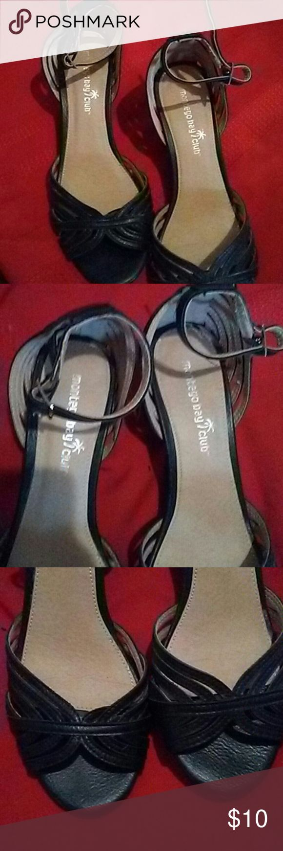 Black dress shoes These are great if you like a heal. I do not. Staps and open toed. montego bay club Shoes Heels