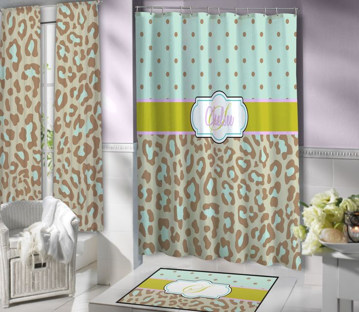 Mint Green And Brown Shower Curtain