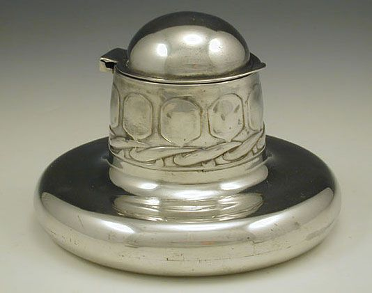 Archibald Knox Inkwell - Liberty & Co  Polished pewter inkwell  England  c.1905