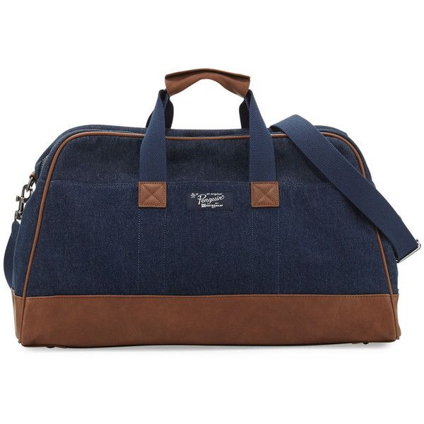 Original Penguin Men's Denim Weekender Bag (1387385 BYR) ❤ liked on Polyvore featuring men's fashion, men's bags, dark sapph, mens overnight bag, mens weekend bag, mens bags and mens weekender bag