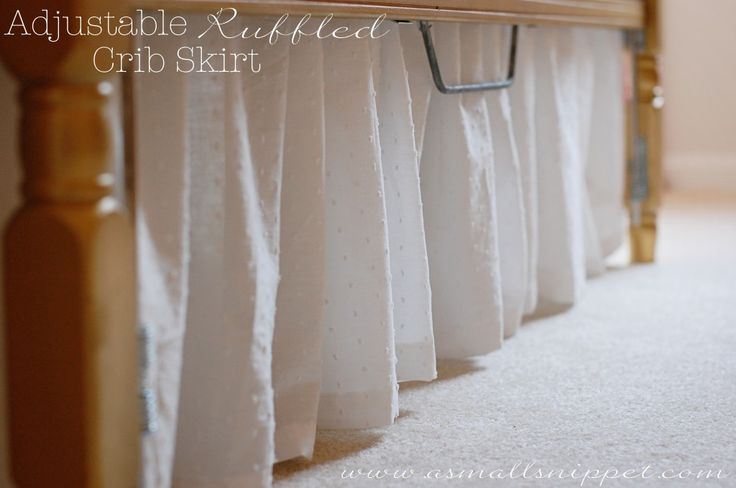 Love the tutorial for this crib skirt! It is adjustable so it will always touch the floor throughout the different heights/stages of the crib.