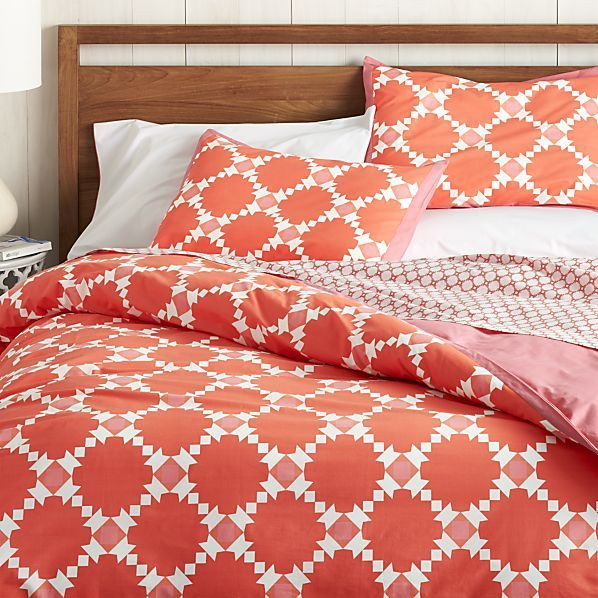 Genevieve Coral Full/Queen Duvet Cover, $45 on sale, Crate and Barrel