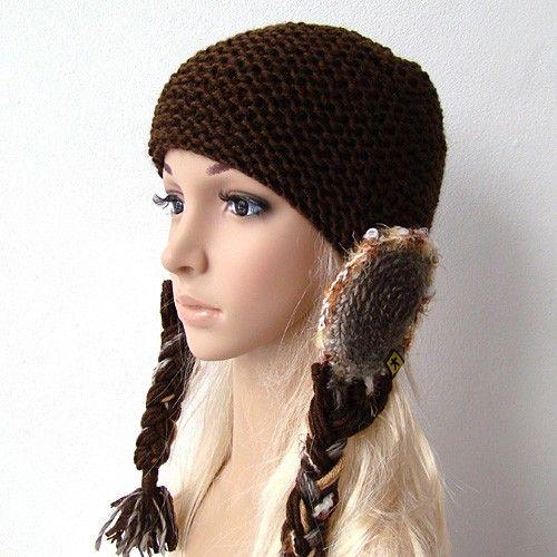 czekoladowa czapka z warkoczami w KuferArt