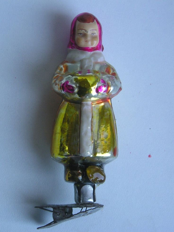 "Antique Russian Christmas Silver Glass Ornament ""Girl with Basket"""