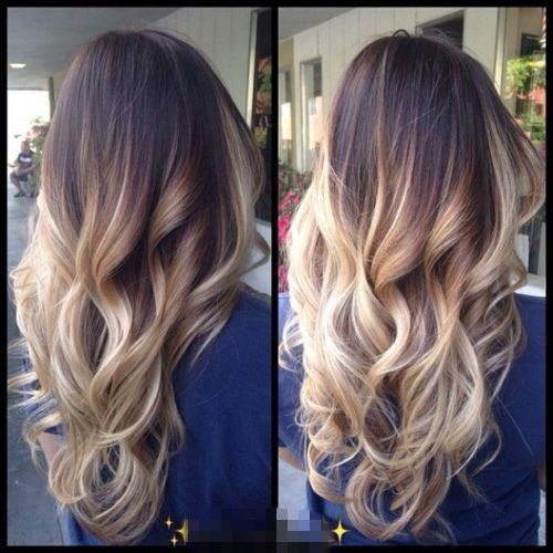 Dip dye Clip in Ombre Hair Extensions Synthetic Straight Curly Wavy Brown Blonde