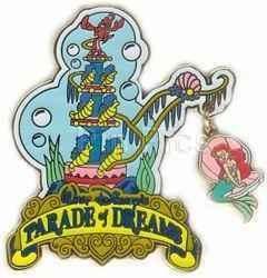 Disney Parade of Dreams Little Mermaid Sebastian Ariel Seashell Dangle Pin | eBay