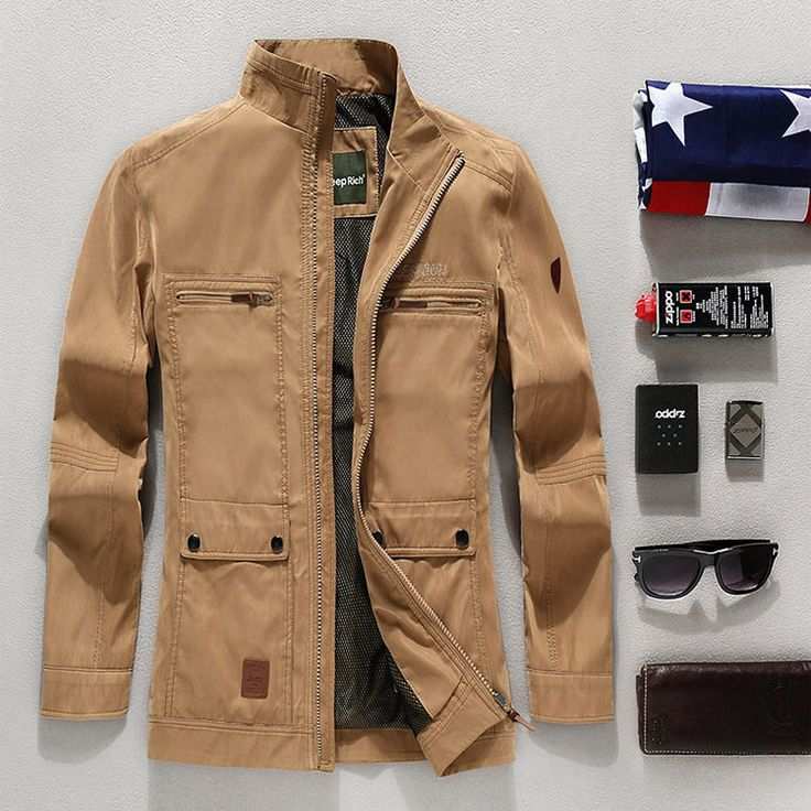 Jeep Rich Spring Autumn Thin Jacket Waterproof Business Casual Collar Coat
