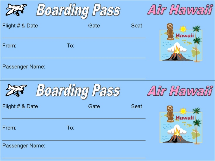 27 best Hawaiian Party images on Pinterest Creative, Dollhouse - plane ticket template