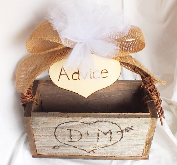 Rustic Wedding Advice Box With Burlap Bow And by ButterBeanVintage
