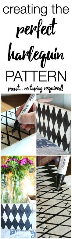 Sharpie Designs on Furniture - Creating the perfect harlequin pattern with #SharpiePaintCreate #Pmedia #ad