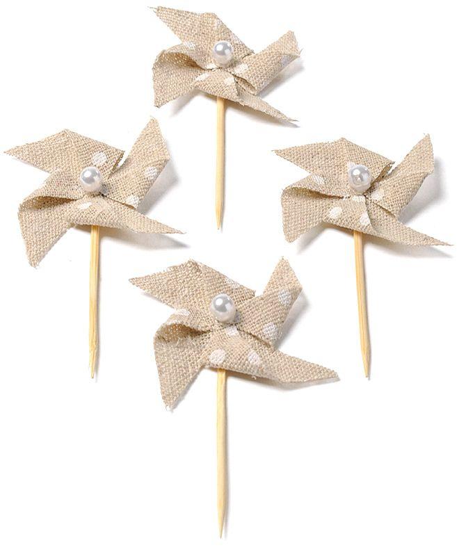 4 Mini pics moulin lin à pois  et un choix immense de décorations pas chères pour anniversaires, fêtes et occasions spéciales. De la vaisselle jetable à la déco de table, vous trouverez tout pour la fête sur VegaooParty