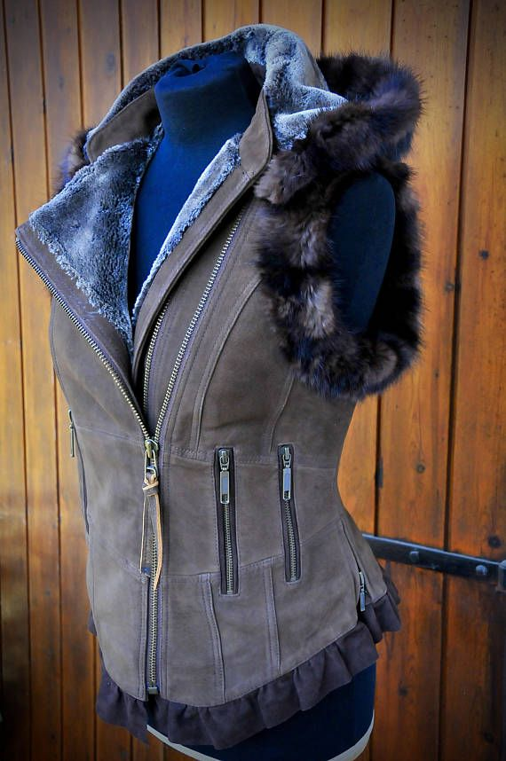 END OF SEASON SALE>>>>THIS UNIQUE VEST IS REDUCED FROM £275 to £255.... Back in stock again and now with improved leather and construction details....the stunning SELKIE hooded leather vest......Ive added 2 chunkier front zips ..which I brought specially over from Ykk Barcelona to