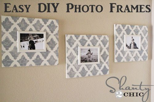 DIY stenciled picture frames