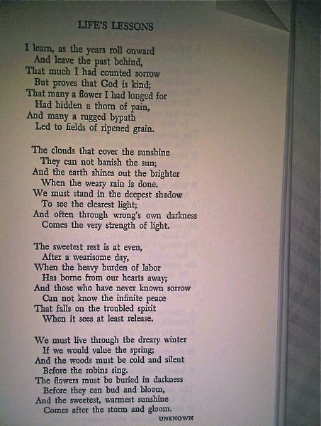 """One of my favorite poems… """"Life Lessons"""""""