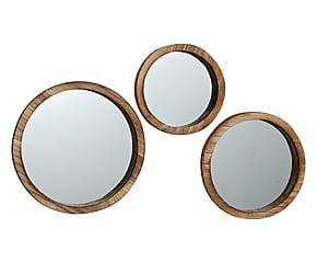 Set di 3 specchi da parete in legno Jones - max d 35 cm