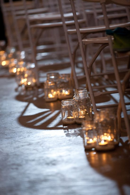 DIY Handmade Barn Wedding Aisle Candles  This blog is the bomb!
