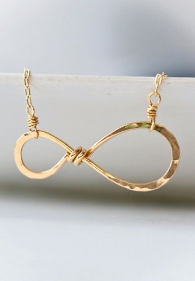 Infinity Simple Everyday Wire Wrapped Hammered 14k