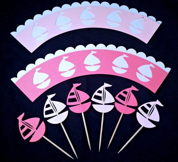 Set di 12 pezzi, pirottino cupcake e cupcake topper a tema barca in rosa chiaro…