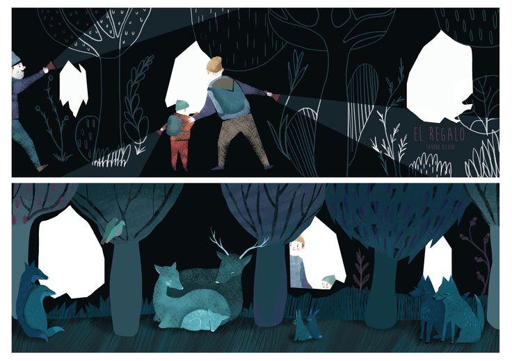 Sandra Rilova. El regalo. Children illustration.