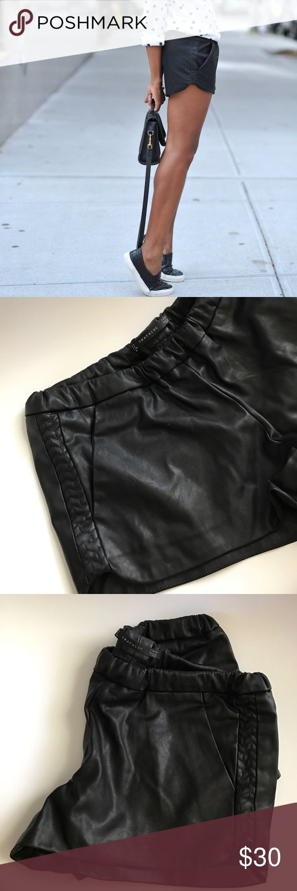 Zara Trafuluc Faux Leather Shorts Faux leather jogger shorts. Dress up or down. Excellent condition! Cozy and chic at the same time. No trades, no PayPal. Zara Shorts